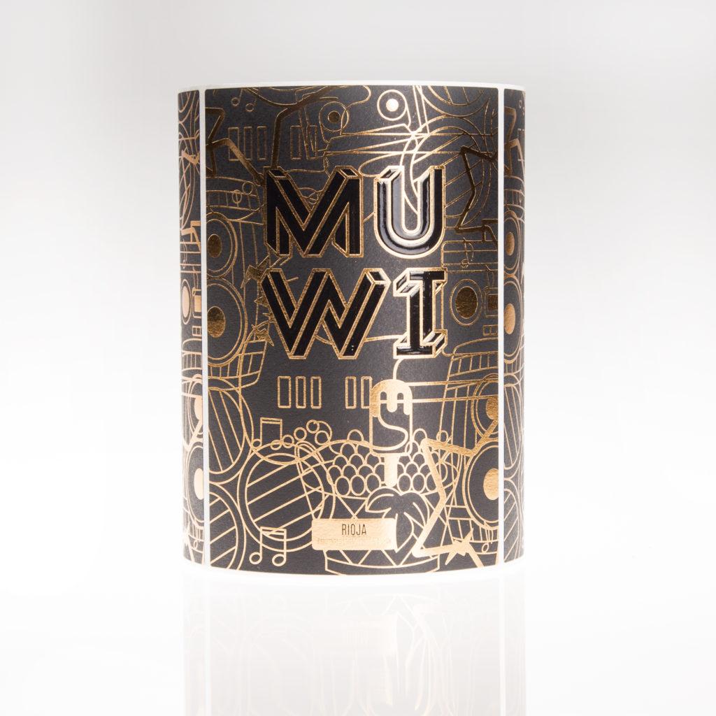 Etiqueta de vino MUWI oro