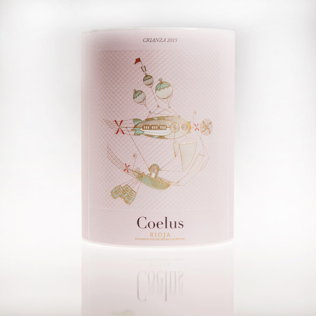 Etiqueta de vino Coelus Crianza impresa por Etilisa