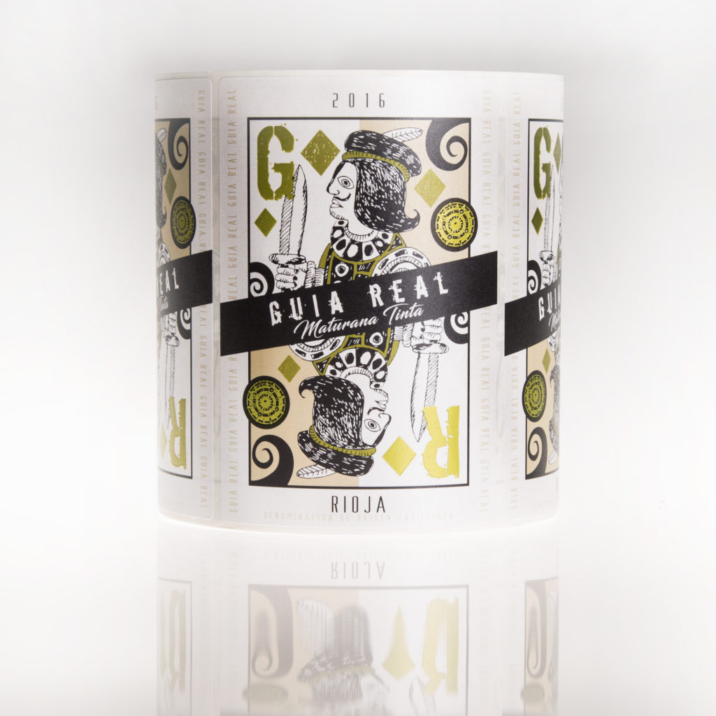 Etiqueta de vino Guía Real impresa por Etilisa